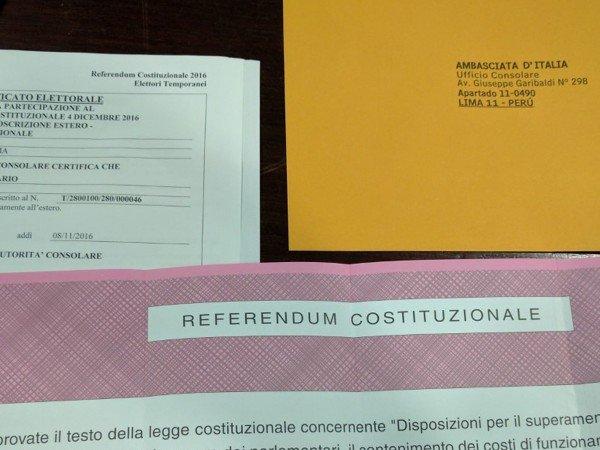 Referendum costituzionale: dal Perù vi invito a votare
